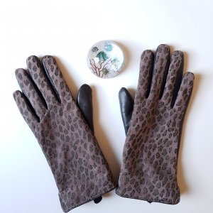 Leather Gloves grey brown-light brown leather