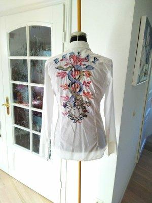 Neuwertige Replay Bluse Longbluse Hemd Hemd Bluse weiß Stickerei 36