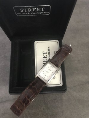 Street Watch With Leather Strap silver-colored-black brown