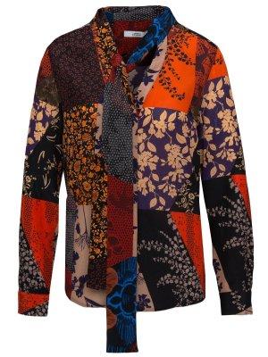 0039 Italy Blouse à manches longues multicolore soie