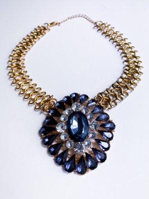Statement Necklace gold-colored-blue violet