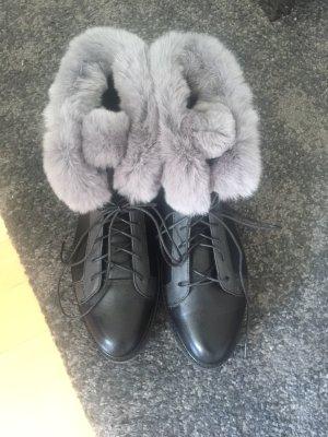 Stivaletto stringato nero-grigio chiaro
