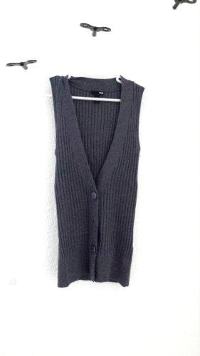 H&M Gilet tricoté gris tissu mixte