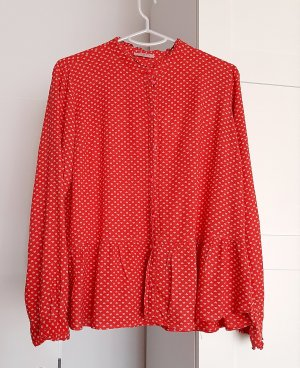 Conleys Long Sleeve Blouse brick red-light grey viscose