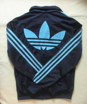 Neuwertige, super Adidas Glanzjacke, Sportjacke, dunkelblau mit hellblau, Größe DE 3436, XS S