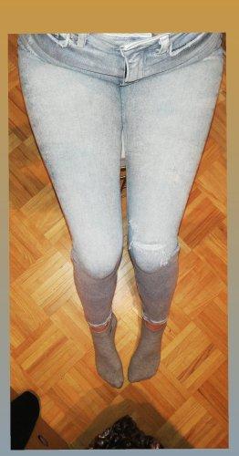 Zara Vaquero de talle alto gris claro-gris
