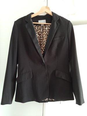 H&M Smokingblazer zwart-donkergeel Polyester