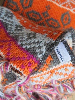 neuwertiger Chiemsee Wolle Winter Schal Boho-Look Strickschal aus Alpaka/Schurwolle, schön lang mit Norweger Muster