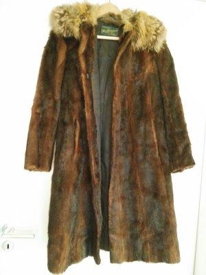 Manteau de fourrure brun-marron clair fourrure