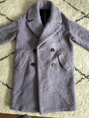 Neuwertiger flauschiger Trenchcoat Mantel 50% Wolle lila, Gr. 38-38,federleicht