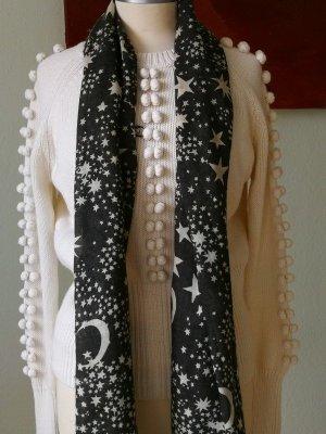 Codello Écharpe en tricot argenté-blanc cassé