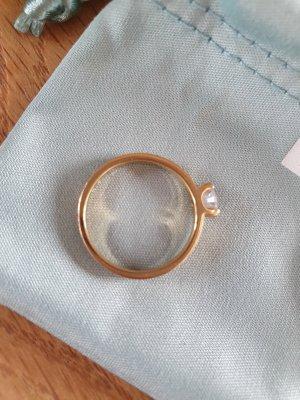 Neuwertiger vergoldeter Silberring mit Zirkonia, Gr. 17, Esprit