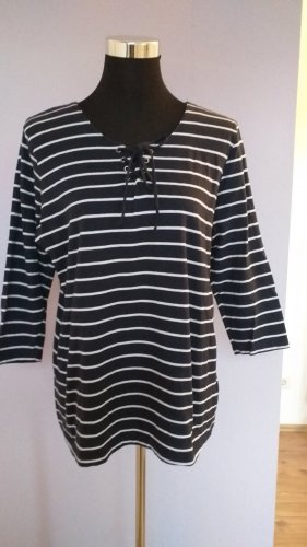 Laura Torelli Stripe Shirt white-steel blue