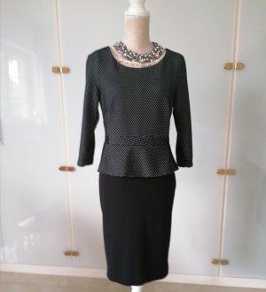 Comma Peplum jurk zwart-grijs