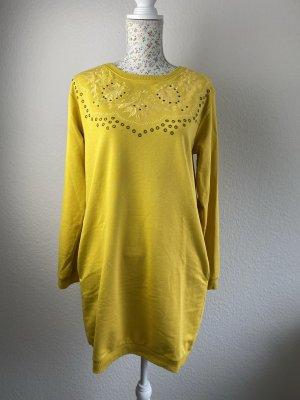 Desigual Sweat Dress neon yellow cotton