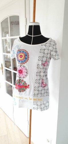 Neuwertiges Desigual T-Shirt Shirt Tunika weiß bunt 36 38