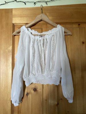 H&M Camisa de un solo hombro blanco Viscosa