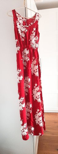 Cut Out Dress neon red-white cotton