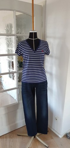 Neuwertiges Polo Ralph Lauren T-Shirt Shirt Marine Look blau weiß gestreift V-Ausschnitt M 38