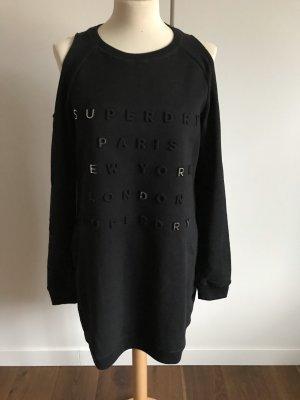 Superdry Vestido de tela de sudadera negro-color plata