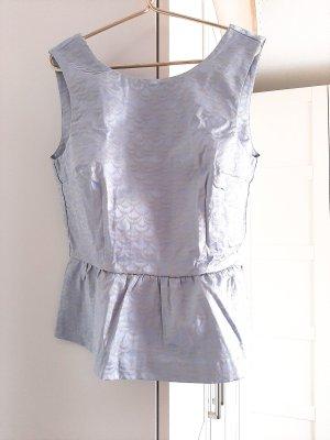 H&M Peplum Top azure-light grey cotton