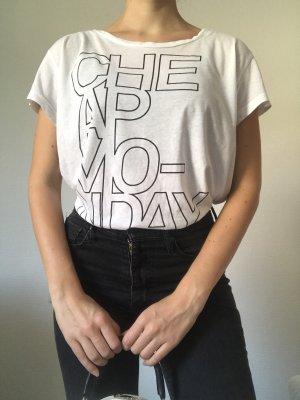 Neuwertiges, weißes, schwarzes Basic T-Shirt von Cheap Monday M 38