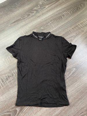 Never bored Shirt Schrift Hals t-Shirt schwarz Silber Monkl
