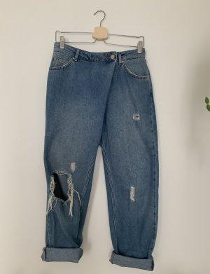 Never Denim Jeans boyfriend bleu acier coton