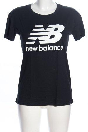 New Balance T-Shirt schwarz-weiß Schriftzug gedruckt Casual-Look