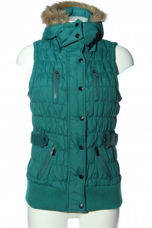 new caro Quilted Gilet green quilting pattern casual look