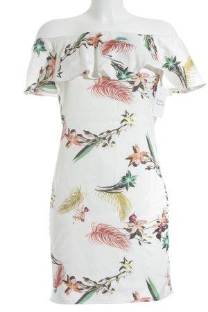 new collection schulterfreies Kleid Blumenmuster Elegant