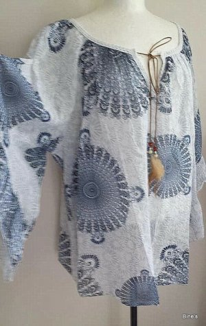 new collection Oversized blouse wit-blauw