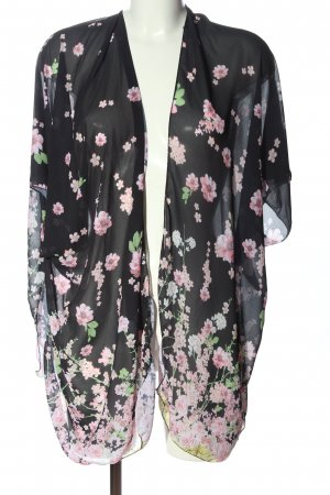 New collecttion Kimono black-pink flower pattern casual look