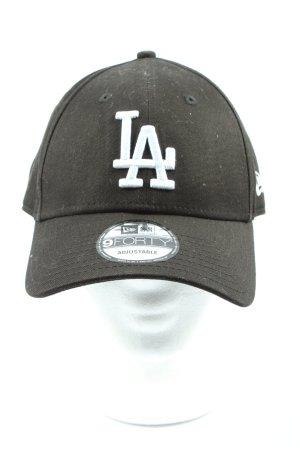 New Era Cappello da panettiere nero-bianco caratteri ricamati stile casual