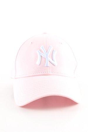 New Era Basecap pink-weiß Schriftzug gestickt Casual-Look