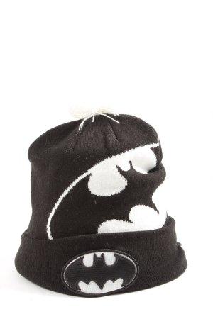 New Era Sombrero de punto negro-blanco estampado temático look casual