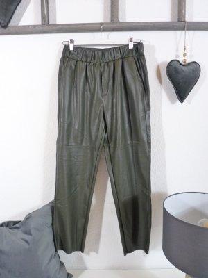 Lindsay Moda Pantalón de cuero caqui tejido mezclado