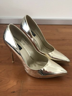 New Juliet Silver lack Gold Pumps, Silver High Heels, Peep Toes Silber Size 39