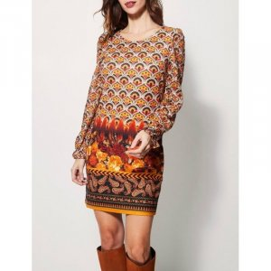 101 Idees Robe à manches longues multicolore polyester