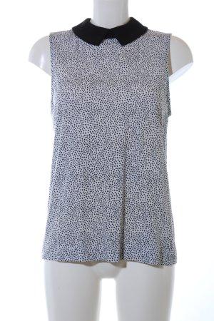 New Look ärmellose Bluse weiß-schwarz Punktemuster Casual-Look