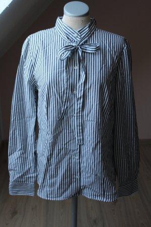 New Look Bluse Langarm weiß grau gestreift Schluppenbluse 100 % Baumwolle Gr. 42