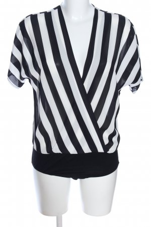 New Look Blusa tipo body negro-blanco estampado a rayas estilo «business»