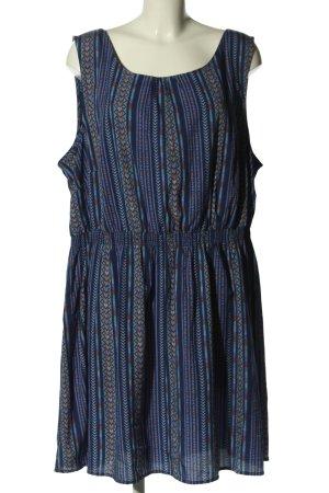 New Look Blusenkleid blau-braun Allover-Druck Casual-Look
