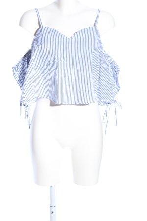 New Look Carmen-Bluse blau-weiß Allover-Druck Casual-Look