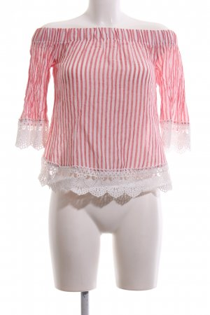 New Look Carmen-Bluse rot-weiß Streifenmuster Casual-Look