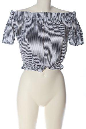 New Look Carmen-Bluse schwarz-weiß Streifenmuster Casual-Look