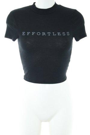 New Look Cropped Shirt schwarz-weiß Schriftzug gedruckt Casual-Look