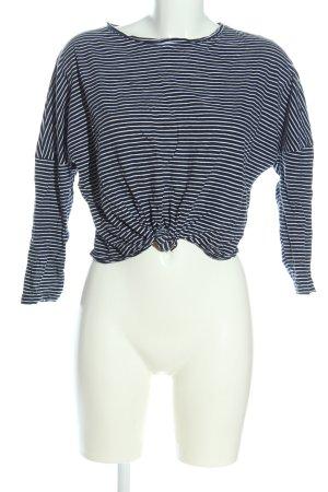 New Look Camicia cropped blu-bianco motivo a righe stile casual