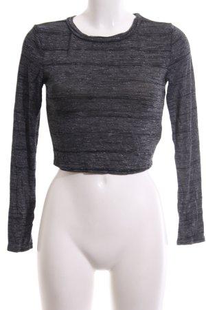 New Look Cropped Shirt hellgrau-schwarz meliert Casual-Look