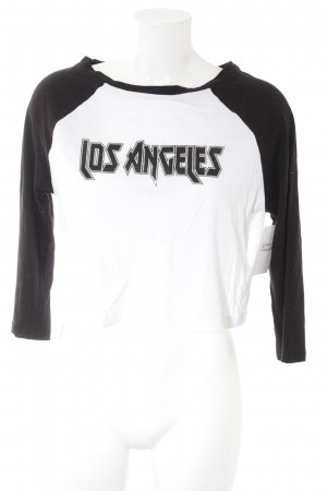 New Look Cropped Shirt schwarz-weiß Motivdruck Casual-Look